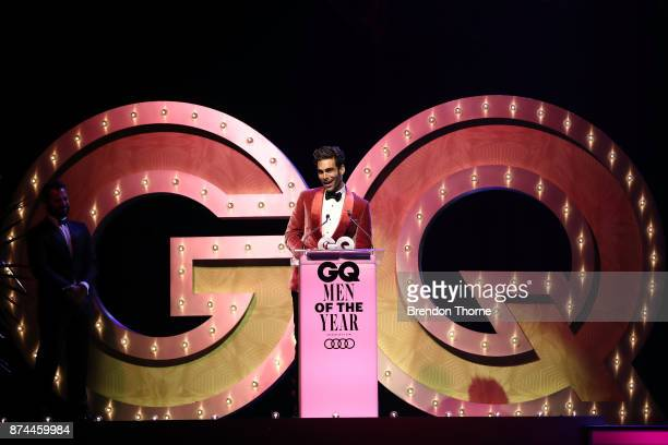 Jon Kortajrena accepts the award for Model of the Year during the GQ Men Of The Year Awards Ceremony at The Star on November 15 2017 in Sydney...