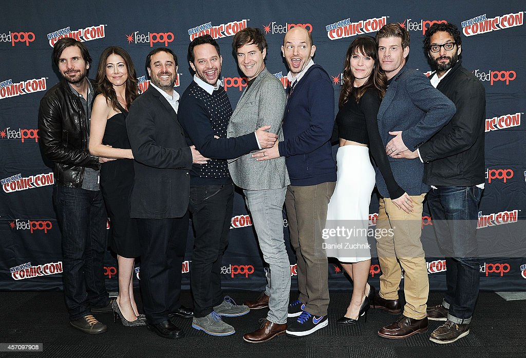 Jon Lajoie, Jackie Schaffer, Jeff Schaffer, Nick Kroll, Mark Duplass, Paul Scheer, Katie Aselton, Stephen Rannazzisi and Jason Mantzoukas attend The League press room at 2014 New York Comic Con - Day 3 at Jacob Javitz Center on October 11, 2014 in New York City.