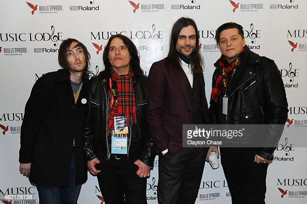 Jon LaRue Nate Shaw Brian Bell and Anthony Burulcich of the band The Relationship attend the Music Lodge Hosts MTV Interview Studio on January 24...