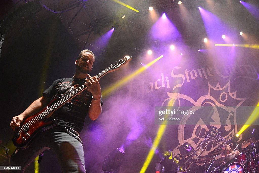 Jon Lawhon of Black Stone Cherry perform at Sheffield City Hall on November 28, 2016 in Sheffield, England.