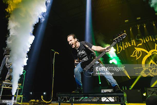 Jon Lawhon of Black Stone Cherry performs at First Direct Arena on February 5 2016 in Leeds England
