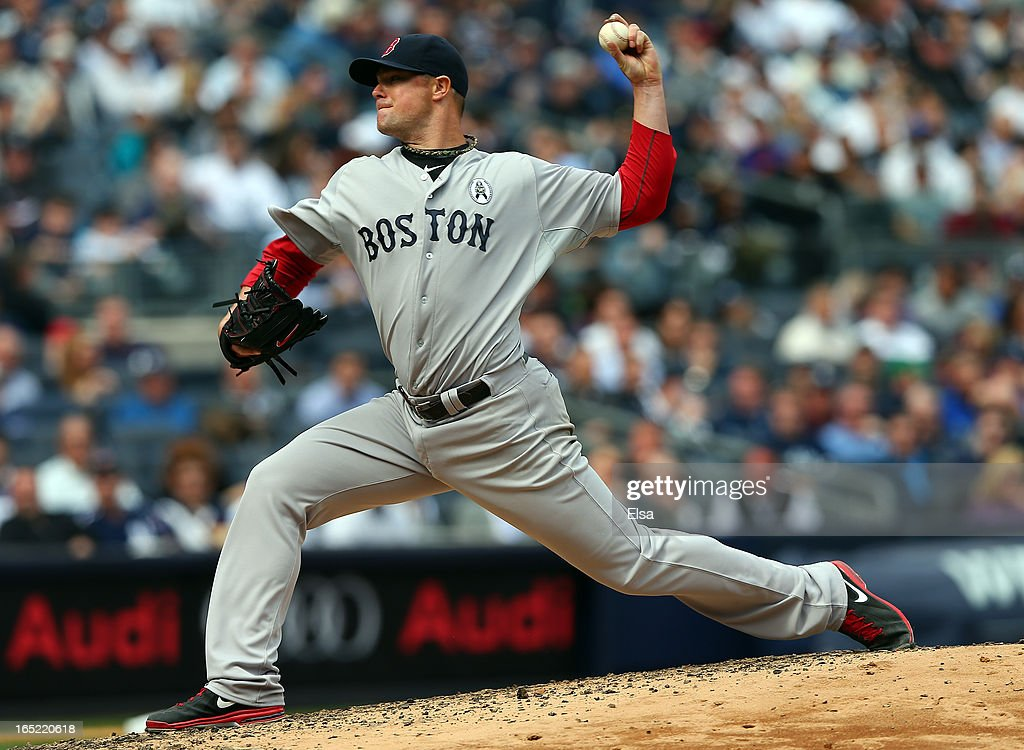 <a gi-track='captionPersonalityLinkClicked' href=/galleries/search?phrase=Jon+Lester&family=editorial&specificpeople=832746 ng-click='$event.stopPropagation()'>Jon Lester</a> #31 of the Boston Red Sox delivers a pitch to the New York Yankees during Opening Day on April 1, 2013 at Yankee Stadium in the Bronx borough of New York City.