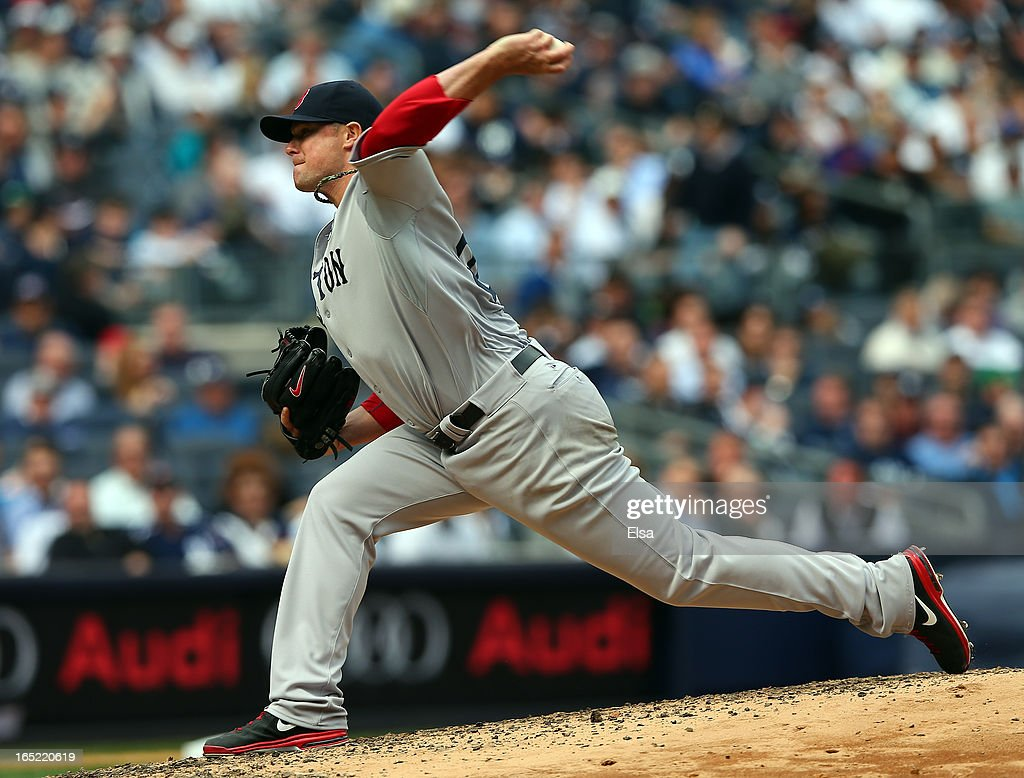 Jon Lester #31 of the Boston Red Sox delivers a pitch to the New York Yankees during Opening Day on April 1, 2013 at Yankee Stadium in the Bronx borough of New York City.