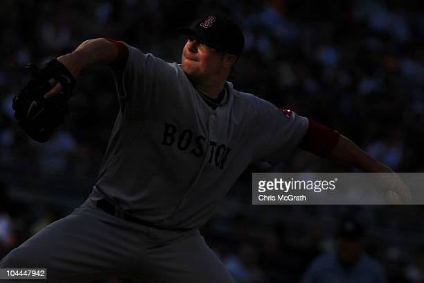Jon Lester of the Boston Red Sox pitches against the New York Yankees during their game on September 25 2010 at Yankee Stadium in the Bronx borough...