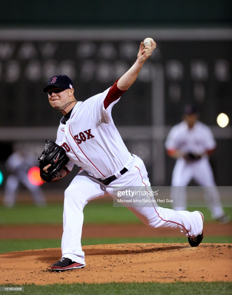 <a gi-track='captionPersonalityLinkClicked' href=/galleries/search?phrase=Jon+Lester&family=editorial&specificpeople=832746 ng-click='$event.stopPropagation()'>Jon Lester</a> #31 of the Boston Red Sox pitches against the New York Yankees in the first inning on September 11, 2012 at Fenway Park in Boston, Massachusetts.