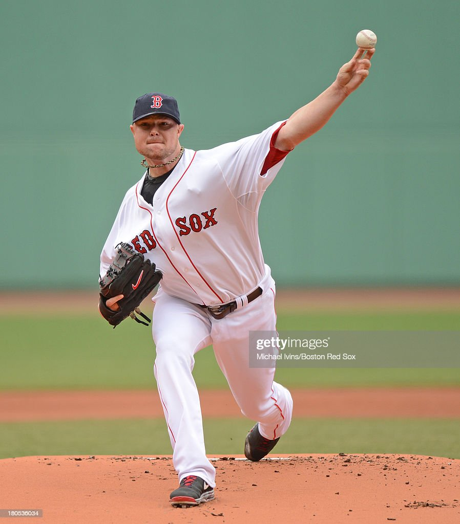 Jon Lester #31 of the Boston Red Sox pitches against the New York Yankees during the first inning on September 14, 2013 at Fenway Park in Boston Massachusetts.