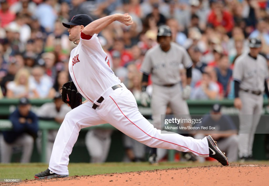 Jon Lester #31 of the Boston Red Sox pitches against the New York Yankees during the fourth inning on September 14, 2013 at Fenway Park in Boston Massachusetts.