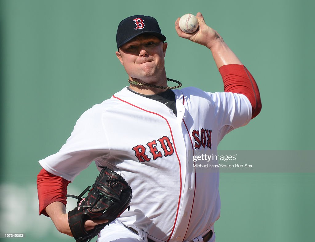 Jon Lester #31 of the Boston Red Sox pitches against the Oakland Athletics in the first inning on April 24, 2013 at Fenway Park in Boston, Massachusetts.