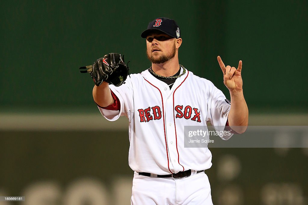 Jon Lester #31 of the Boston Red Sox pitches against the St. Louis Cardinals in the first inning of Game One of the 2013 World Series at Fenway Park on October 23, 2013 in Boston, Massachusetts.