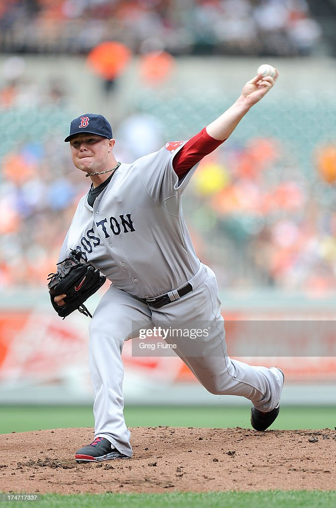<a gi-track='captionPersonalityLinkClicked' href=/galleries/search?phrase=Jon+Lester&family=editorial&specificpeople=832746 ng-click='$event.stopPropagation()'>Jon Lester</a> #31 of the Boston Red Sox pitches in the first inning against the Baltimore Orioles at Oriole Park at Camden Yards on July 28, 2013 in Baltimore, Maryland.