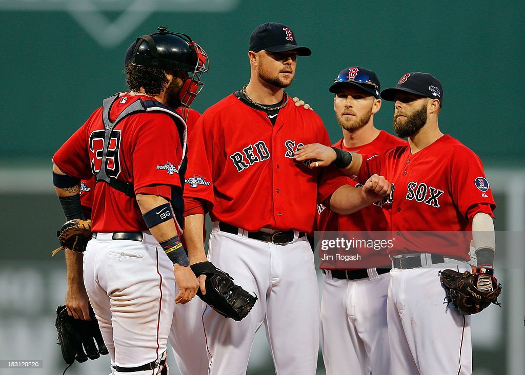 Jon Lester #31 of the Boston Red Sox prepares to leave the mound in the eighth inning against the Tampa Bay Rays during Game One of the American League Division Series at Fenway Park on October 4, 2013 in Boston, Massachusetts.