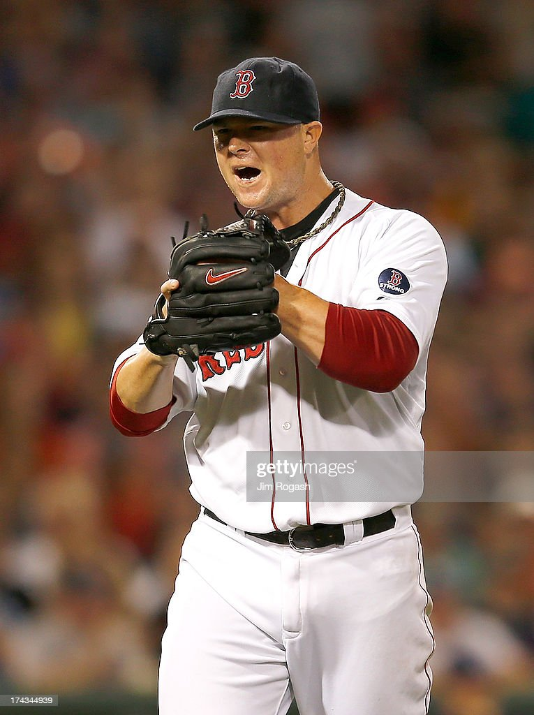 Jon Lester #31 of the Boston Red Sox reacts after a scoreless 4th inning against the Tampa Bay Rays inning at Fenway Park on July 23, 2013 in Boston, Massachusetts.