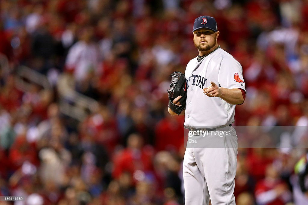 <a gi-track='captionPersonalityLinkClicked' href=/galleries/search?phrase=Jon+Lester&family=editorial&specificpeople=832746 ng-click='$event.stopPropagation()'>Jon Lester</a> #31 of the Boston Red Sox reacts against the St. Louis Cardinals during Game Five of the 2013 World Series at Busch Stadium on October 28, 2013 in St Louis, Missouri.
