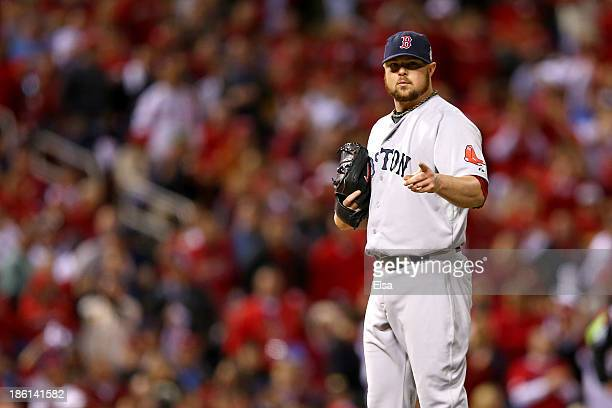 Jon Lester of the Boston Red Sox reacts against the St Louis Cardinals during Game Five of the 2013 World Series at Busch Stadium on October 28 2013...