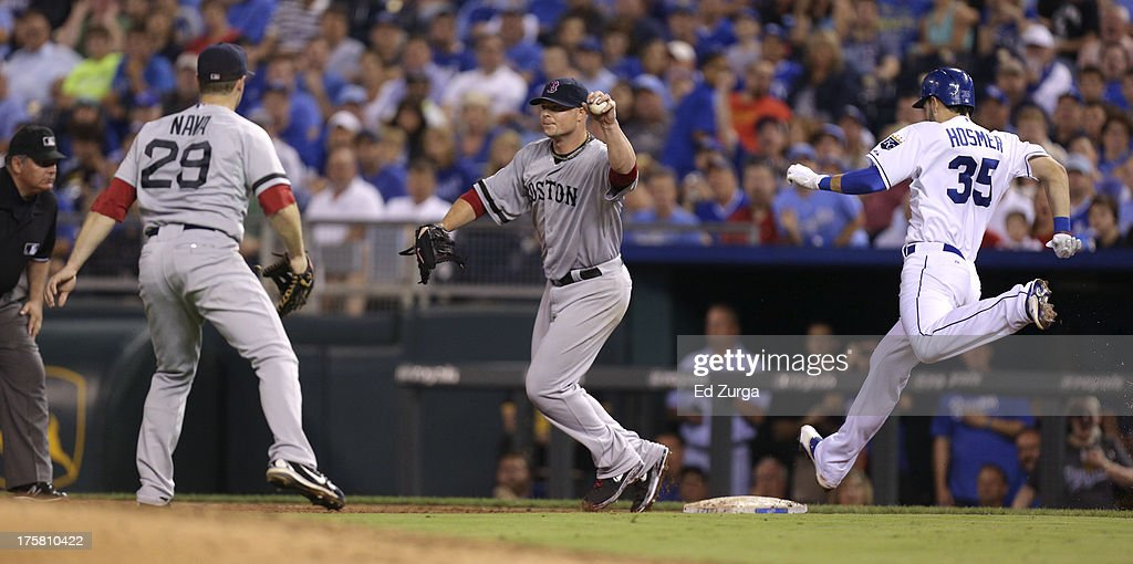 <a gi-track='captionPersonalityLinkClicked' href=/galleries/search?phrase=Jon+Lester&family=editorial&specificpeople=832746 ng-click='$event.stopPropagation()'>Jon Lester</a> #31 of the Boston Red Sox takes the throw from <a gi-track='captionPersonalityLinkClicked' href=/galleries/search?phrase=Daniel+Nava&family=editorial&specificpeople=670454 ng-click='$event.stopPropagation()'>Daniel Nava</a> #29 as <a gi-track='captionPersonalityLinkClicked' href=/galleries/search?phrase=Eric+Hosmer&family=editorial&specificpeople=7091345 ng-click='$event.stopPropagation()'>Eric Hosmer</a> #35 of the Kansas City Royals reaches for first in the the fifth inning at Kauffman Stadium August, 8, 2013 in Kansas City, Missouri. Hosmer reached first as Nava was charged with an error on the play.