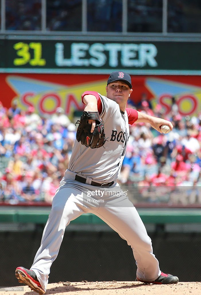 <a gi-track='captionPersonalityLinkClicked' href=/galleries/search?phrase=Jon+Lester&family=editorial&specificpeople=832746 ng-click='$event.stopPropagation()'>Jon Lester</a> #31 of the Boston Red Sox throws against the Texas Rangers at Rangers Ballpark in Arlington on May 5, 2013 in Arlington, Texas.