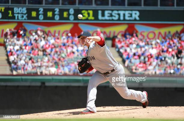 Jon Lester of the Boston Red Sox throws against the Texas Rangers at Rangers Ballpark in Arlington on May 5 2013 in Arlington Texas