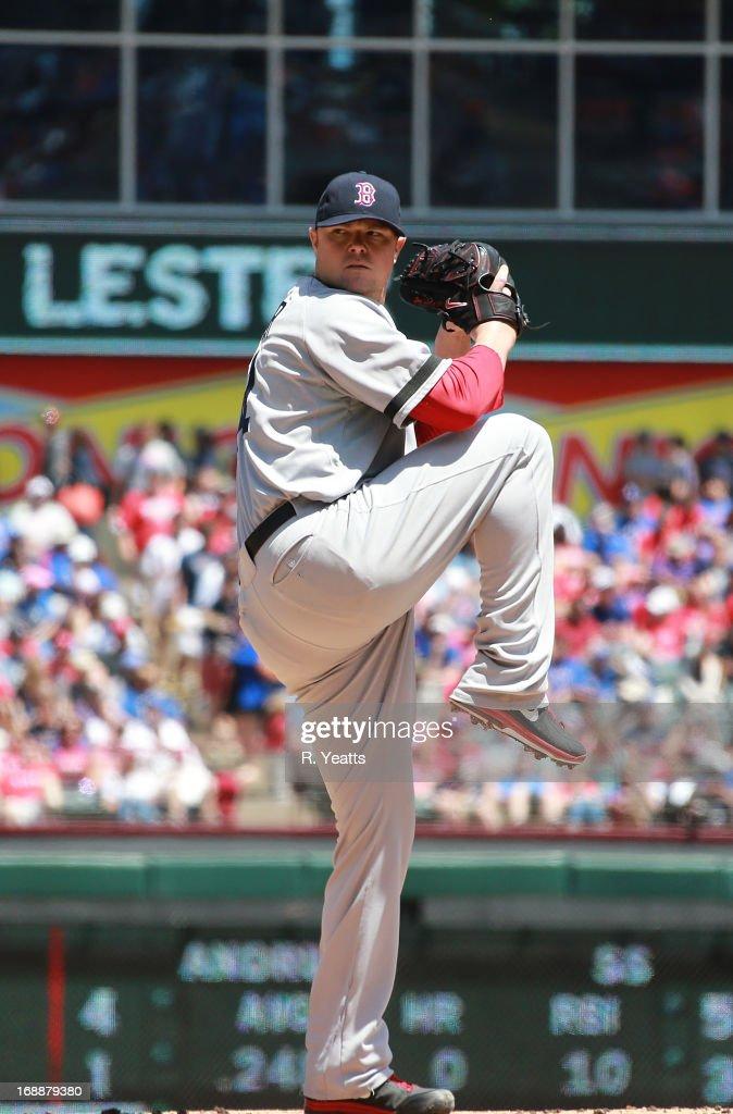Jon Lester #31 of the Boston Red Sox throws against the Texas Rangers at Rangers Ballpark in Arlington on May 5, 2013 in Arlington, Texas.