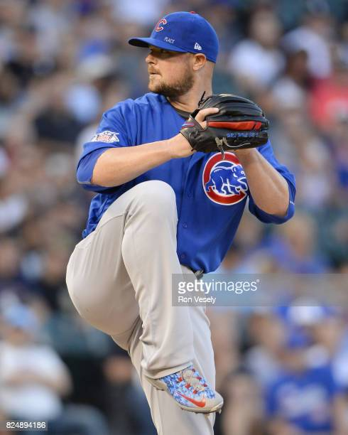 Jon Lester of the Chicago Cubs pitches against the Chicago White Sox on July 27 2017 at Guaranteed Rate Field in Chicago Illinois