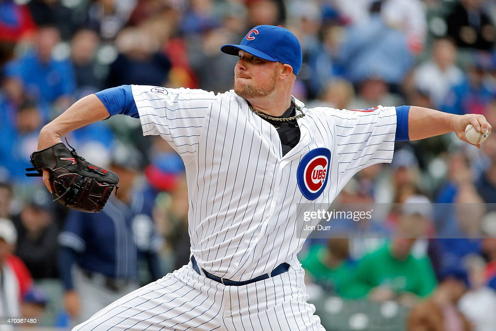<a gi-track='captionPersonalityLinkClicked' href=/galleries/search?phrase=Jon+Lester&family=editorial&specificpeople=832746 ng-click='$event.stopPropagation()'>Jon Lester</a> #34 of the Chicago Cubs pitches against the San Diego Padres during the first inning on April 19, 2015 at Wrigley Field in Chicago, Illinois.