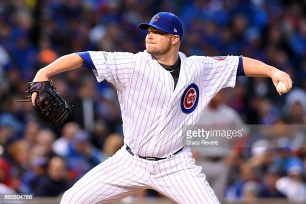 Jon Lester of the Chicago Cubs pitches in the fifth inning during game four of the National League Division Series against the Washington Nationals...
