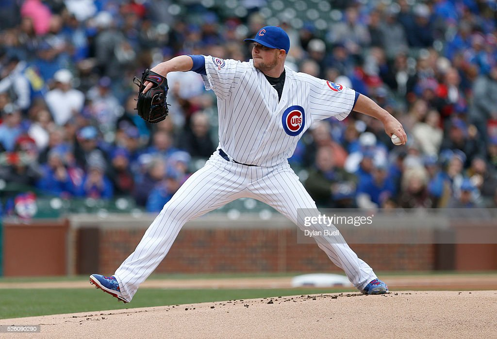 <a gi-track='captionPersonalityLinkClicked' href=/galleries/search?phrase=Jon+Lester&family=editorial&specificpeople=832746 ng-click='$event.stopPropagation()'>Jon Lester</a> #34 of the Chicago Cubs pitches in the first inning against the Atlanta Braves at Wrigley Field on April 29, 2016 in Chicago, Illinois.