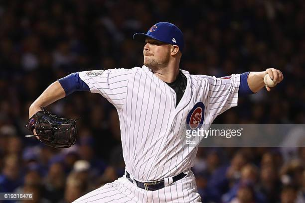 Jon Lester of the Chicago Cubs pitches in the first inning against the Cleveland Indians in Game Five of the 2016 World Series at Wrigley Field on...