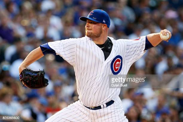 Jon Lester of the Chicago Cubs pitches in the first inning against the Arizona Diamondbacks at Wrigley Field on August 1 2017 in Chicago Illinois