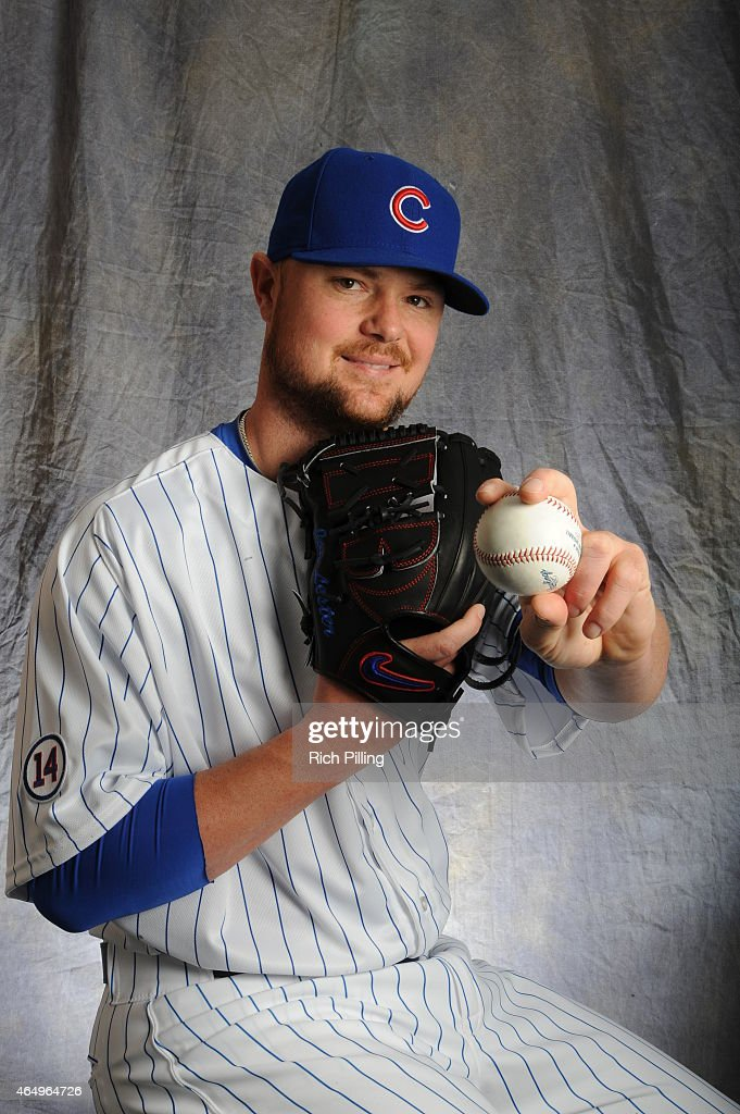 Jon Lester #34 of the Chicago Cubs poses for a portrait during Photo Day on March 2, 2015 at Sloan Park in Mesa, Arizona.