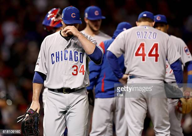 Jon Lester of the Chicago Cubs reacts after being relieved during the sixth inning in Game One of the 2016 World Series against the Cleveland Indians...