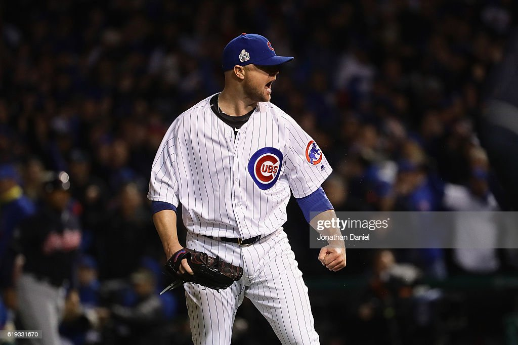 Jon Lester #34 of the Chicago Cubs reacts after pitching in the fifth inning against the Cleveland Indians in Game Five of the 2016 World Series at Wrigley Field on October 30, 2016 in Chicago, Illinois.