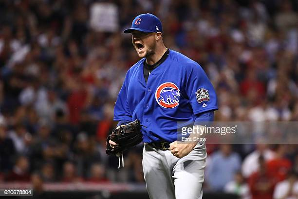 Jon Lester of the Chicago Cubs reacts after retiring the side during the seventh inning against the Cleveland Indians in Game Seven of the 2016 World...