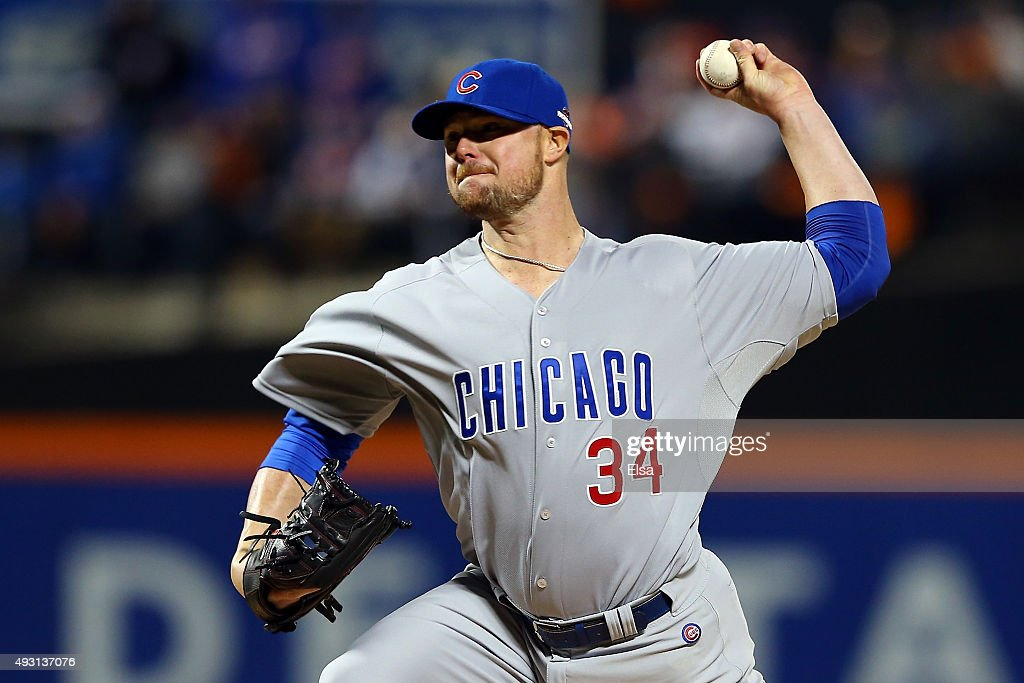 Jon Lester #34 of the Chicago Cubs throws a pitch in the first inning against the New York Mets during game one of the 2015 MLB National League Championship Series at Citi Field on October 17, 2015 in the Flushing neighborhood of the Queens borough of New York City.