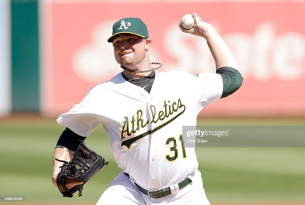 <a gi-track='captionPersonalityLinkClicked' href=/galleries/search?phrase=Jon+Lester&family=editorial&specificpeople=832746 ng-click='$event.stopPropagation()'>Jon Lester</a> #31 of the Oakland Athletics pitches against the Los Angeles Angels of Anaheim at O.co Coliseum on September 24, 2014 in Oakland, California.