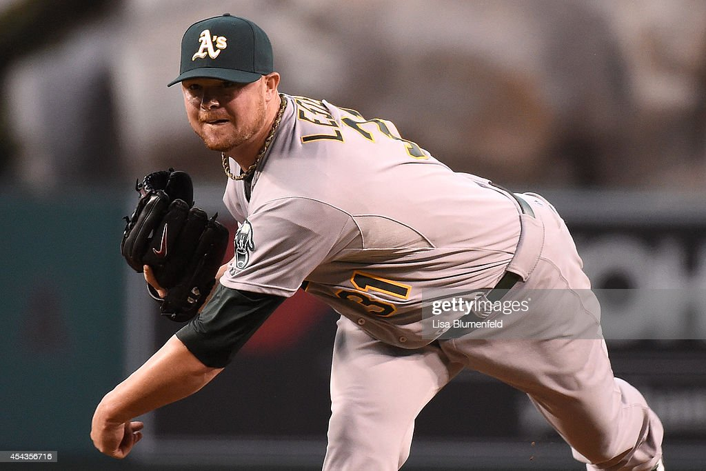<a gi-track='captionPersonalityLinkClicked' href=/galleries/search?phrase=Jon+Lester&family=editorial&specificpeople=832746 ng-click='$event.stopPropagation()'>Jon Lester</a> #31 of the Oakland Athletics pitches in the first inning against the Los Angeles Angels of Anaheim at Angel Stadium of Anaheim on August 29, 2014 in Anaheim, California.