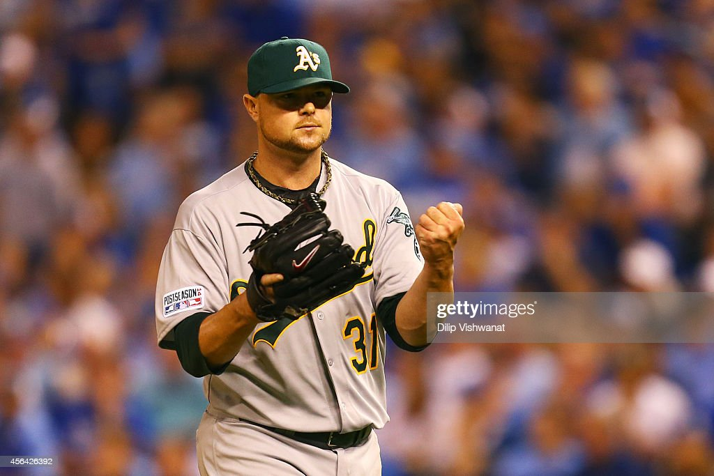 <a gi-track='captionPersonalityLinkClicked' href=/galleries/search?phrase=Jon+Lester&family=editorial&specificpeople=832746 ng-click='$event.stopPropagation()'>Jon Lester</a> #31 of the Oakland Athletics reacts after the third out in the seventh inning against the Kansas City Royals during the American League Wild Card game at Kauffman Stadium on September 30, 2014 in Kansas City, Missouri.