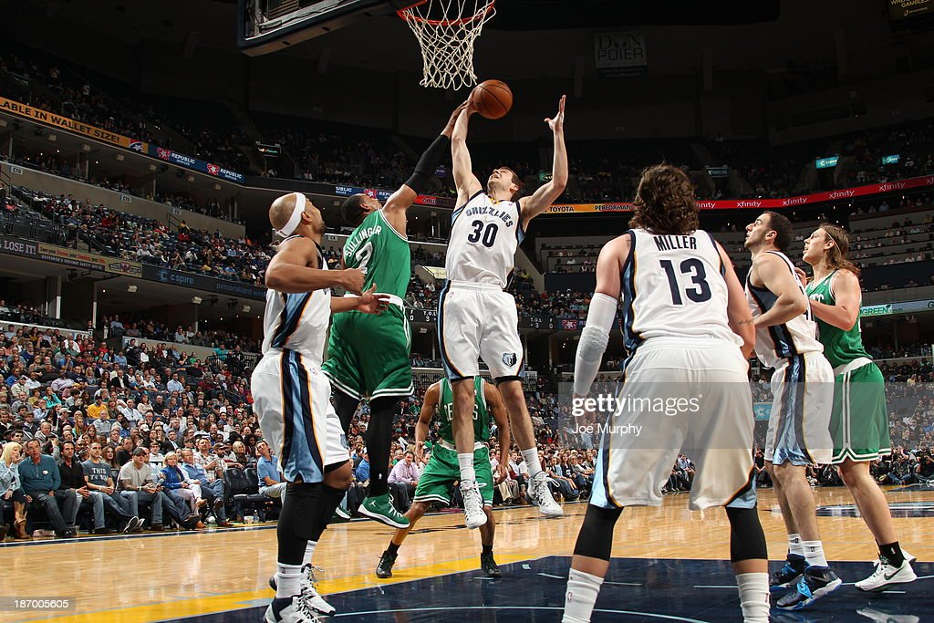 <a gi-track='captionPersonalityLinkClicked' href=/galleries/search?phrase=Jon+Leuer&family=editorial&specificpeople=4630766 ng-click='$event.stopPropagation()'>Jon Leuer</a> #30 of the Memphis Grizzlies grabs a rebound against the Boston Celtics on November 4, 2013 at FedExForum in Memphis, Tennessee.