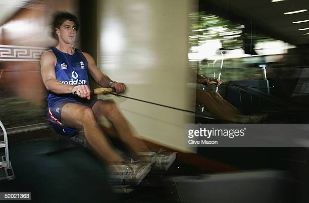 Jon Lewis of England works out in the hotel gym at the Sandton Sun Hotel on January 19 2005 in Johannesburg South Africa
