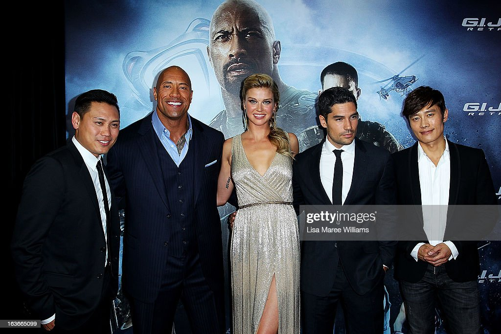 Jon M. Chu, Dwayne 'The Rock' Johnson, <a gi-track='captionPersonalityLinkClicked' href=/galleries/search?phrase=Adrianne+Palicki&family=editorial&specificpeople=632846 ng-click='$event.stopPropagation()'>Adrianne Palicki</a>, DJ Cotrona and <a gi-track='captionPersonalityLinkClicked' href=/galleries/search?phrase=Lee+Byung-Hun&family=editorial&specificpeople=829983 ng-click='$event.stopPropagation()'>Lee Byung-Hun</a> arrive at the 'G.I.Joe: Retaliation' - Australian Premiere at Event Cinemas George Street on March 14, 2013 in Sydney, Australia.