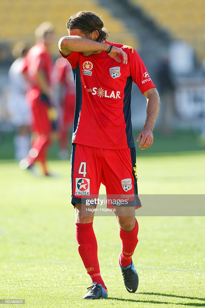 Jon McKain of Adelaide leaves the field after receiving a red card during the round 22 A-League match between the Wellington Phoenix and Adelaide United at Westpac Stadium on February 24, 2013 in Wellington, New Zealand.