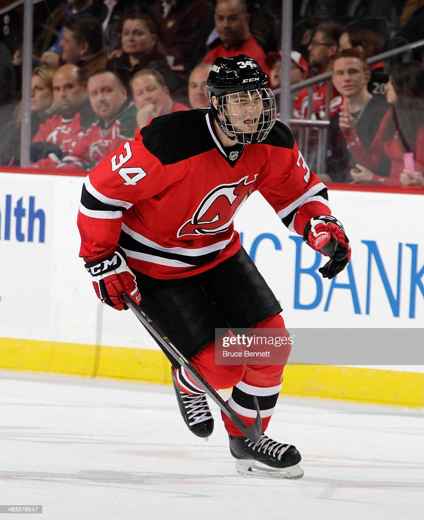 <a gi-track='captionPersonalityLinkClicked' href=/galleries/search?phrase=Jon+Merrill&family=editorial&specificpeople=7127381 ng-click='$event.stopPropagation()'>Jon Merrill</a> #34 of the New Jersey Devils skates against the Calgary Flames at the Prudential Center on April 7, 2014 in Newark, New Jersey. The Flames shutout the Devils 1-0.
