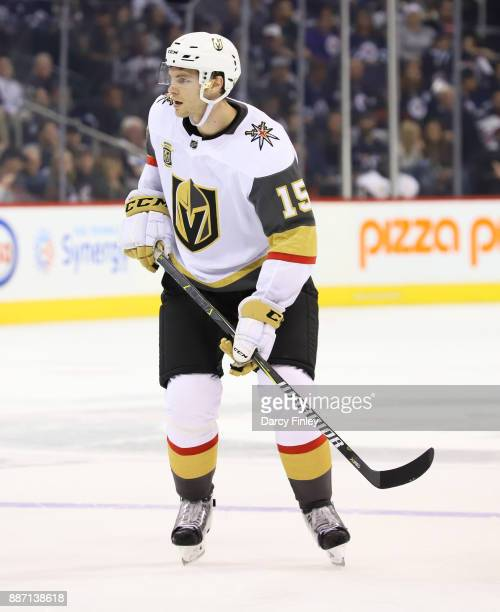 Jon Merrill of the Vegas Golden Knights keeps an eye on the play during third period action against the Winnipeg Jets at the Bell MTS Place on...