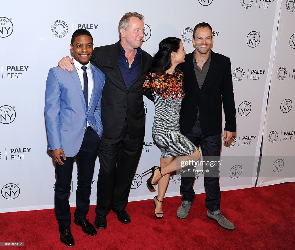 Jon Michael Hill, Aidan Quinn, Lucy Liu and Jonny Lee Miller attend the 'Elementary' panel during 2013 PaleyFest: Made In New York at The Paley Center for Media on October 5, 2013 in New York City.