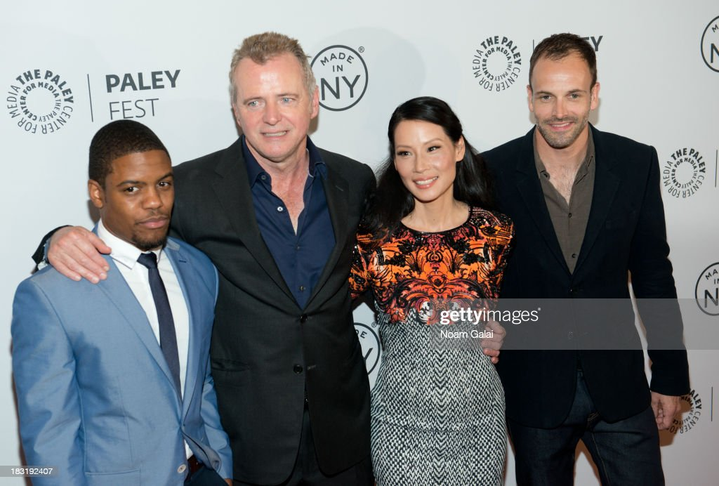 Jon Michael Hill, Aidan Quinn, Lucy Liu, and Jonny Lee Miller attend the 'Elementary' panel during 2013 PaleyFest: Made In New York at The Paley Center for Media on October 5, 2013 in New York City.