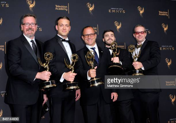 Jon Michaels Dan Kenyon Cameron Frankley Will Digby and Harrison Meyle pose in the pressroom during the 2017 Creative Arts Emmy Awards at Microsoft...