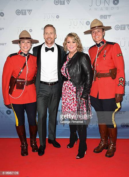 Jon Montgomery and Jann Arden arrive at the 2016 Juno Awards at Scotiabank Saddledome on April 3 2016 in Calgary Canada