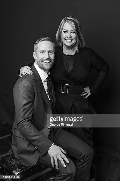 Jon Montgomery and Jann Arden pose at the 2016 Juno Awards Portrait Studio at Scotiabank Saddledome on April 3 2016 in Calgary Canada