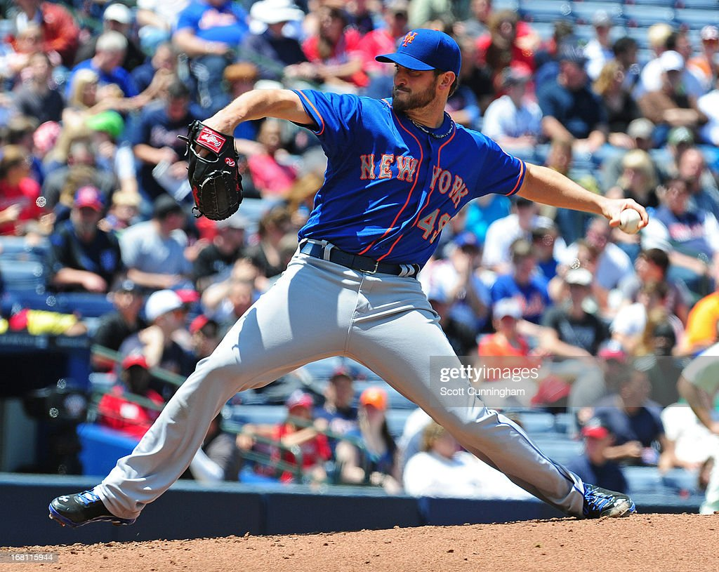 <a gi-track='captionPersonalityLinkClicked' href=/galleries/search?phrase=Jon+Niese&family=editorial&specificpeople=6886535 ng-click='$event.stopPropagation()'>Jon Niese</a> #49 of the New York Mets pitches against the Atlanta Braves at Turner Field on May 5, 2013 in Atlanta, Georgia.