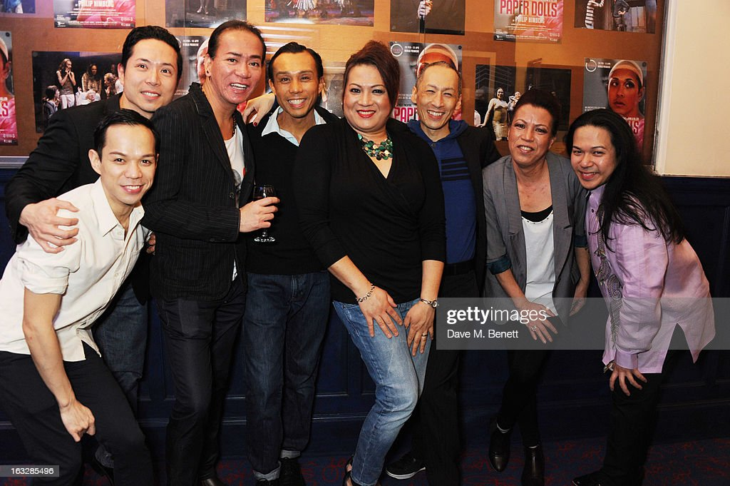 Jon Norman, Benjamin Wong, Chiqui Diokno, Ron Domingo, Angela Libas, Francis Jue, Nitz Manalali and Angelo Paragoso attend an after party following the 'Paper Dolls' press night at Tricycle Theatre on March 6, 2013 in London, England.