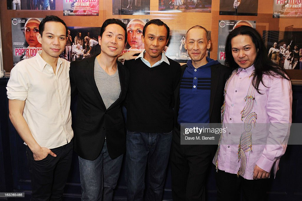 Jon Norman, Benjamin Wong, Ron Domingo, Francis Jue and Angelo Paragoso attend an after party following the 'Paper Dolls' press night at Tricycle Theatre on March 6, 2013 in London, England.